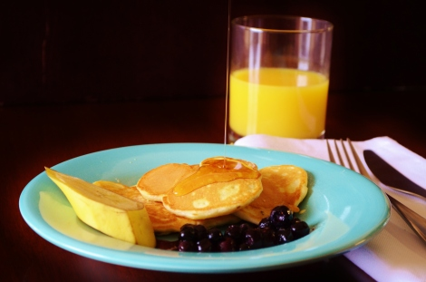 Mickey Mouse Pancakes with a Blueberry Honey Compote