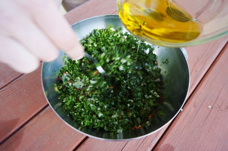 Slowly mix in your olive oil