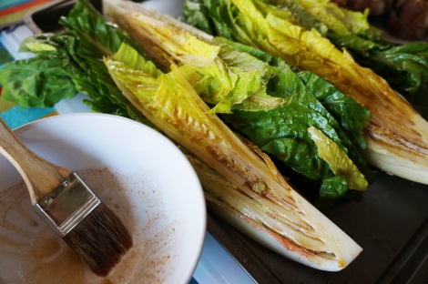 Brush bread and romaine with olive oil and balsamic mixture