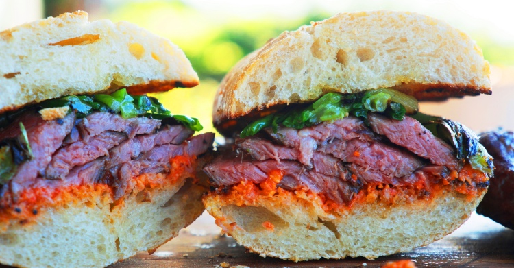 SousVide Flank Steak Sandwich with Romesco and Grilled Spring Onions!