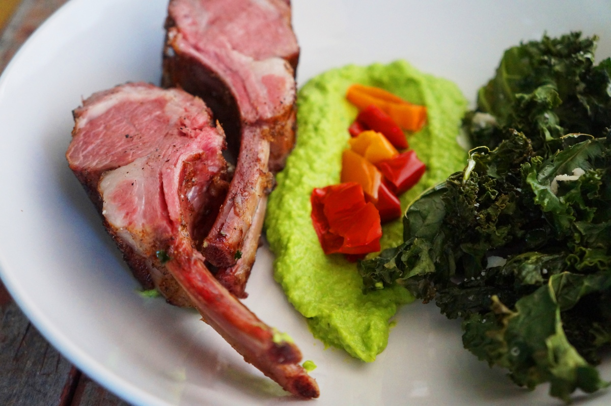 Sous-Vide Rack of Lamb with Minted Pea Puree | cured by bacon